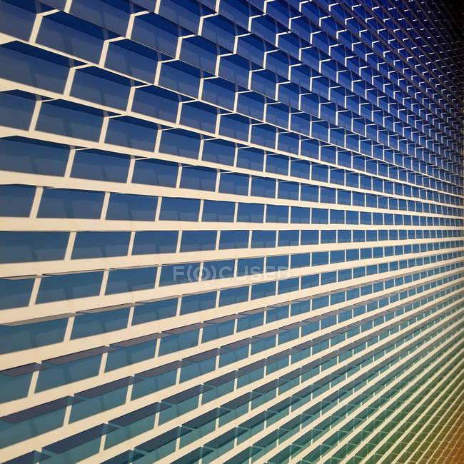 Angled view of blue brick wall — Stock Photo