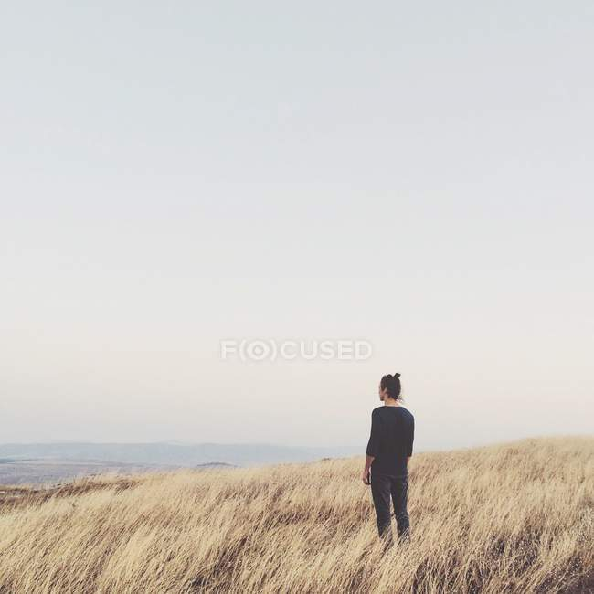 Rear view of a man standing in rural landscape and looking at view — Stock Photo