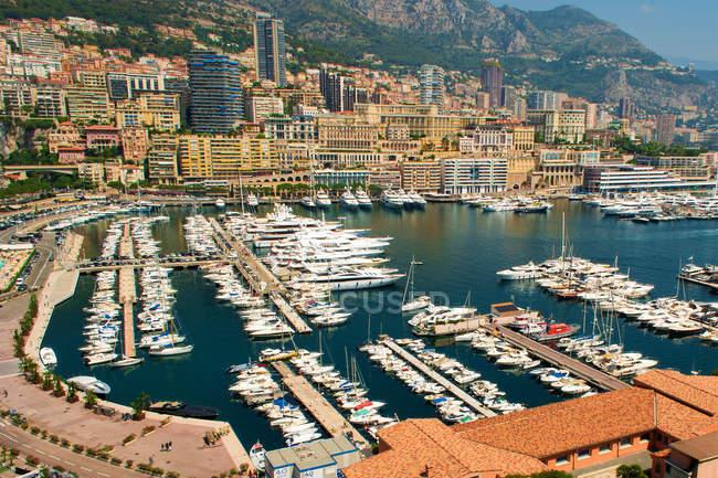 Scenic view of harbor and city skyline, Monaco — Stock Photo
