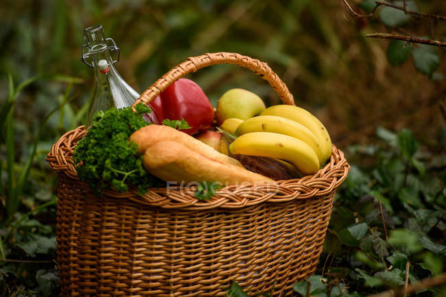 Basket with baguette, bottle, bananas, apples, peppers and parsley at garden — Stock Photo