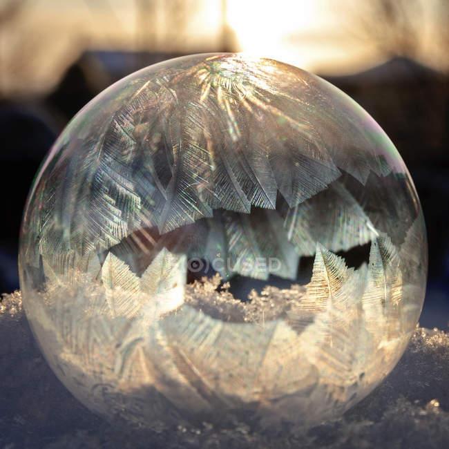 Nahaufnahme Bild einer Seifenblase, die in der Sonne erfriert — Stockfoto