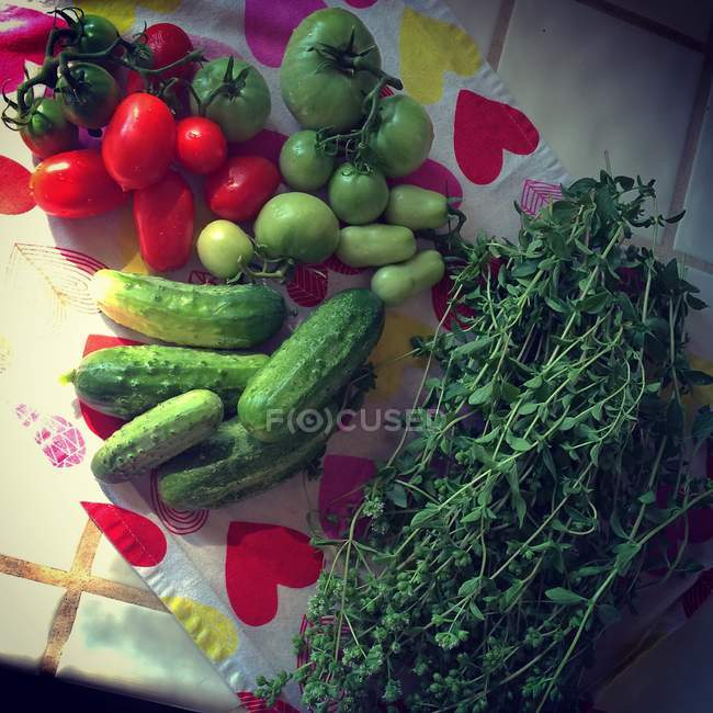 Fresh picked tomatoes, cucumbers and herbs on patterned cloth — Stock Photo