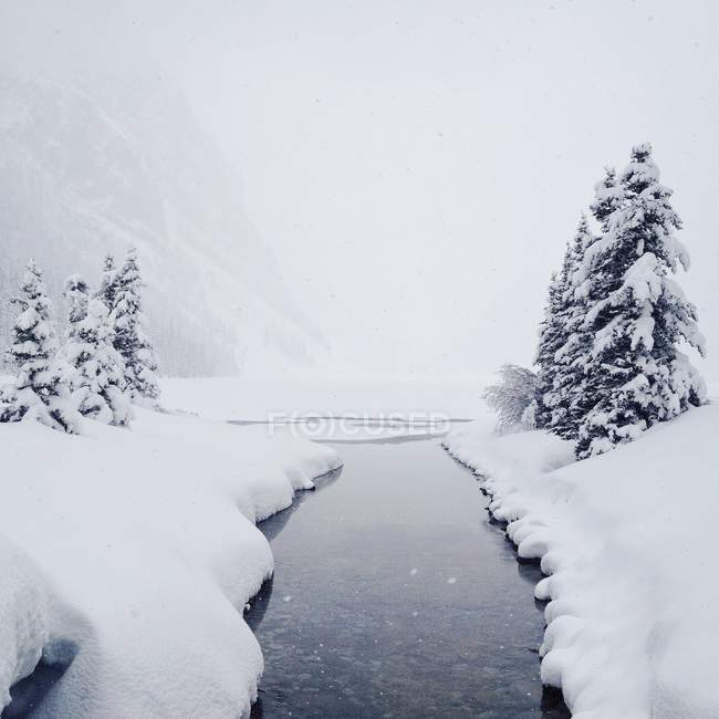 Mirador del río que fluye a través de la nieve cubre el paisaje - foto de stock