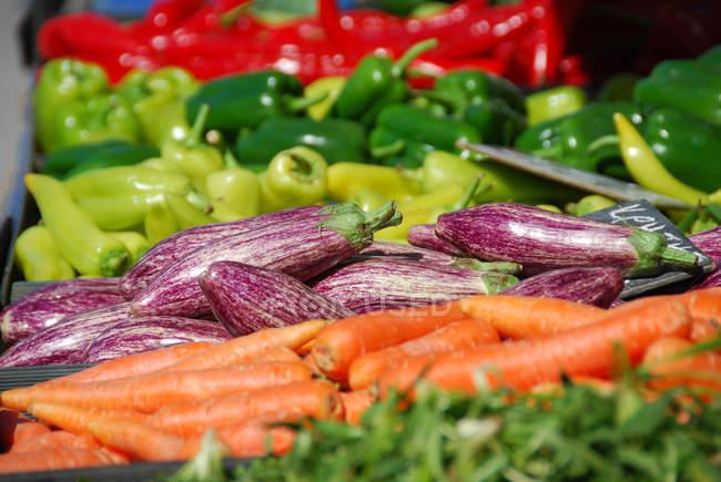 Primer plano de diferentes verduras en montón en el mercado - foto de stock