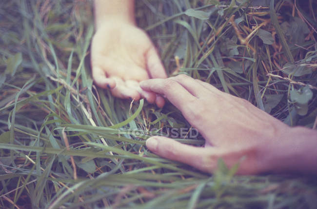 Cropped view of couple hands on grass, reaching towards each other — Stock Photo