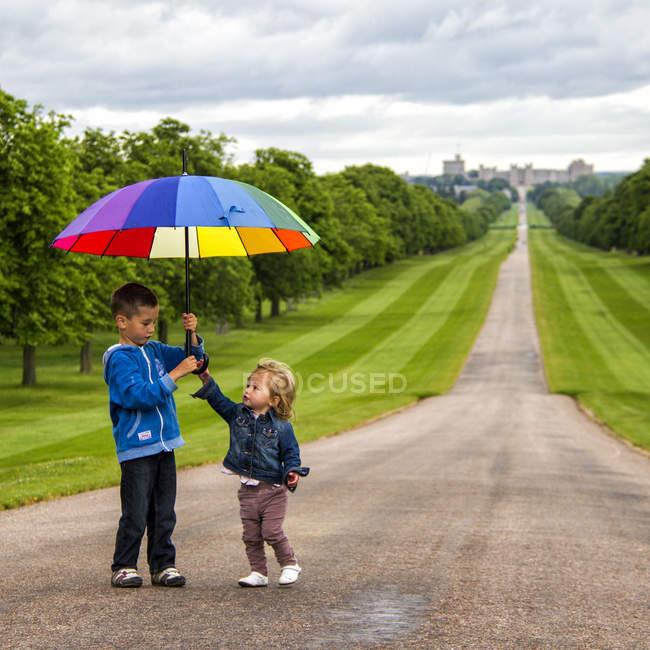 Dois irmãos brincando com guarda-chuva no Windsor Great Park — Fotografia de Stock