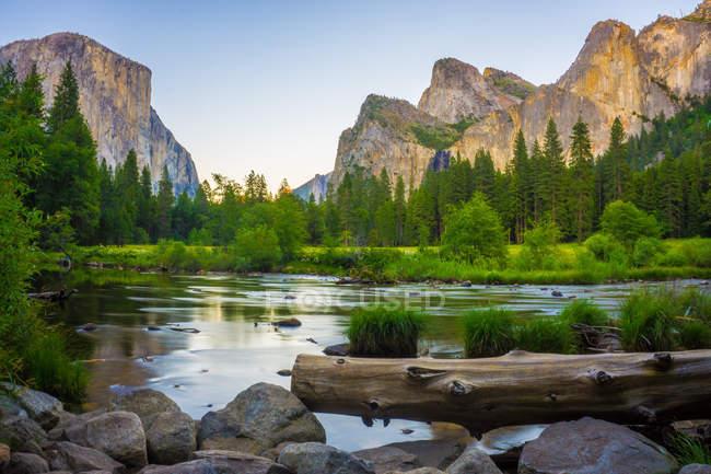 Vue de la vallée au Parc National de Yosemite avec El Capitan et Bridalveil Falls derrière la rivière Merced, Californie, Usa — Photo de stock