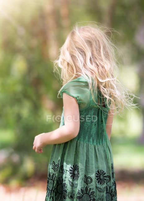 Rear view of blond little girl wearing green dress — Stock Photo