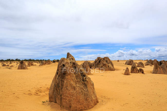 Scenic view of Landscape with rock formations, Pinnacles, Western Australia, Australia — Stock Photo