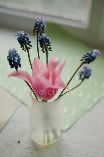 Букет свежих срезанных цветов в банке — стоковое фото
