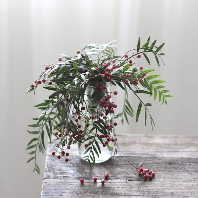 Green plants with red berries in vase on table — Stock Photo