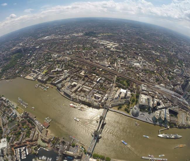 KAerial view of Tower Bridge and London, England, U — Stock Photo