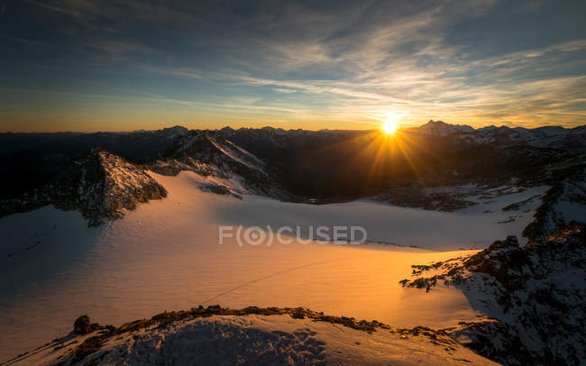 Scenic view of sunset high in mountains, Salzburg, Austria — Stock Photo