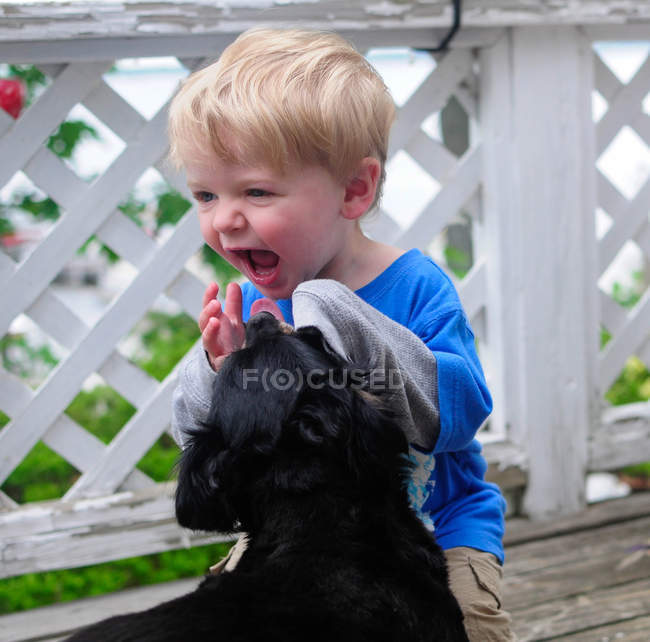 Portrait of giggling boy playing with dog — Stock Photo