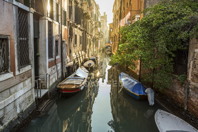Italy, Venice, scenic view along canal in morning time — Stock Photo