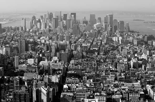 Повітряні видом на Нью-Йорк, США, Нью-Йорк, чорно-біле зображення — стокове фото