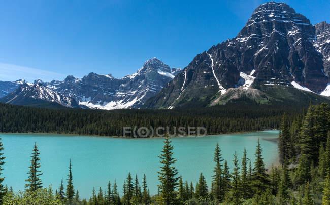Mt Chephren and Lower Waterfowl Lake at Canada, Alberta, Banff National Park — Stock Photo