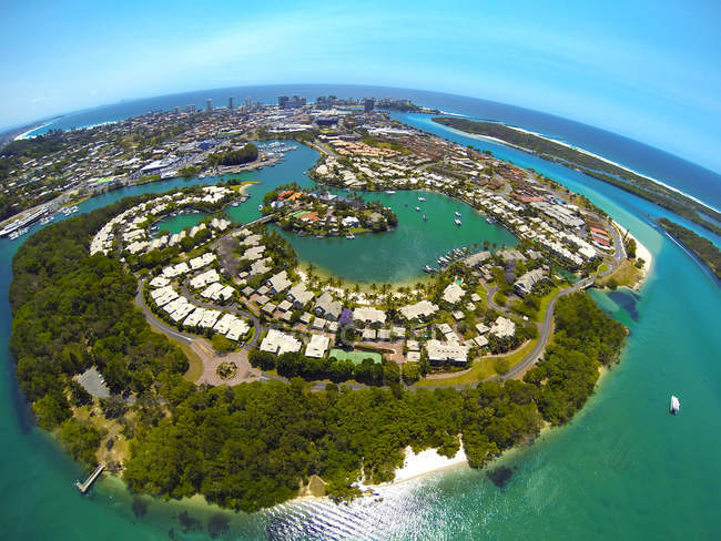 Vue aérienne de Terranora Creek, Greenbank, Australie — Photo de stock
