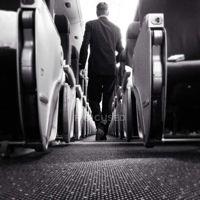 Rear view of businessman walking in plane — Stock Photo