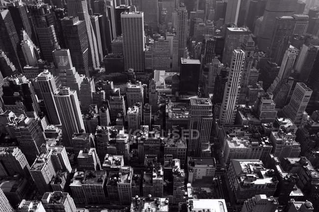 Veduta aerea di New York, Stati Uniti d'America, Stato di New York, immagine in bianco e nero — Foto stock