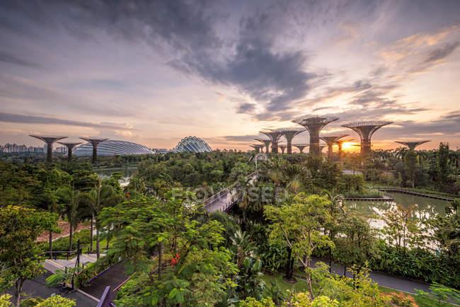 Erhöhter Blick auf die Gärten an der Bucht bei Sonnenaufgang, Singapore — Stockfoto