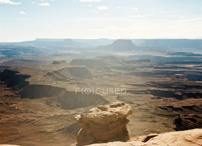 Scenic View Of Barren Landscape Usa Utah Canyonlands National Park Stock Photo