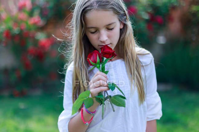 Ragazza profumata rose rosse in giardino — Foto stock