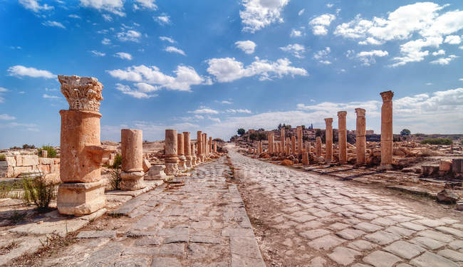 Scenic view along ancient Roman road lined with columns, Jordan — Stock Photo