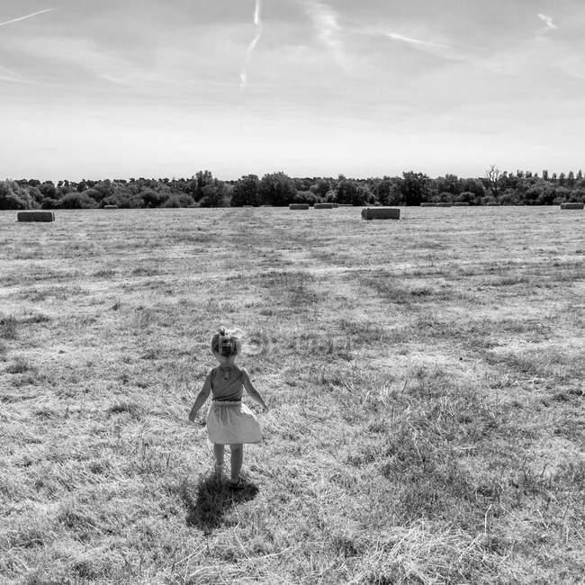 Дівчинка стоїть в галузі — стокове фото