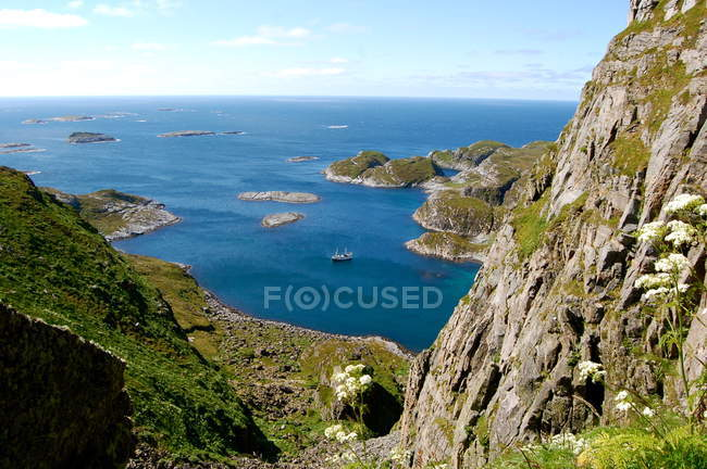 Norway, Traena, Horizon over water and mountains — Stock Photo