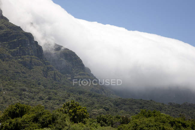 Scenic view of rural foggy mountain landscape — Stock Photo