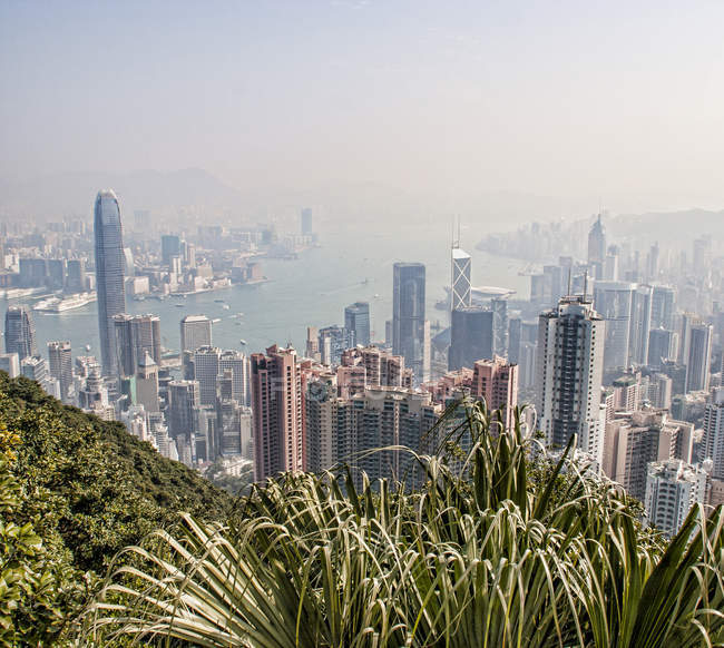 Elevated view of cityscape and Victoria harbour in Hong Kong, China — Stock Photo