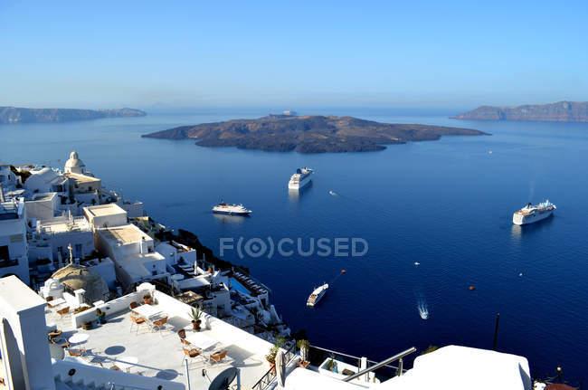 Vista panoramica del paesaggio di santorini, Isole Cicladi, Grecia — Foto stock