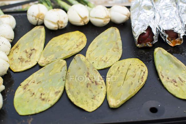 Приготовление Нопалс и Шамбре лук, крупным планом вид — стоковое фото