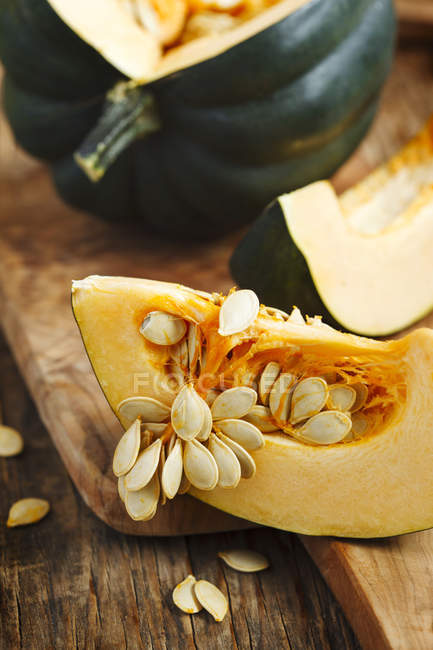 Closeup of Preparing pumpkin for cooking in kitchen — Stock Photo