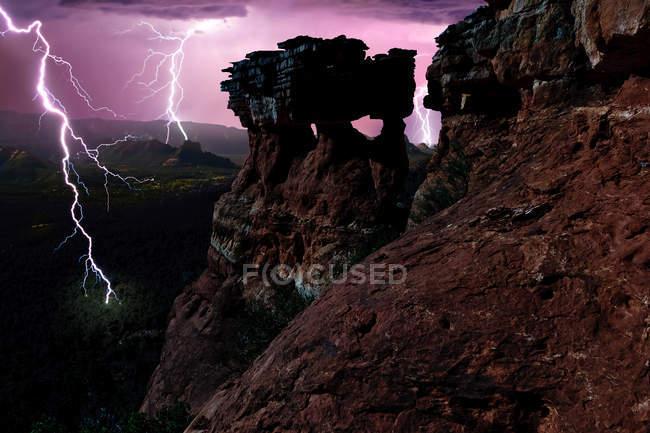 Vista panorâmica de relâmpago, Sedona, Arizona, América, Estados Unidos da América — Fotografia de Stock