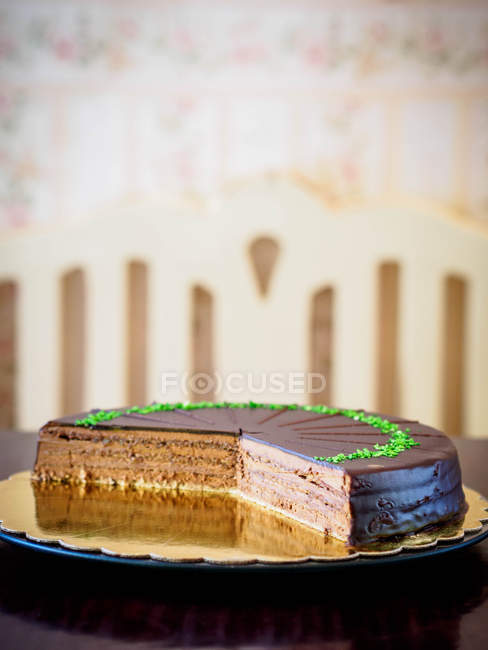 Closeup view of chocolate layered cake — Stock Photo