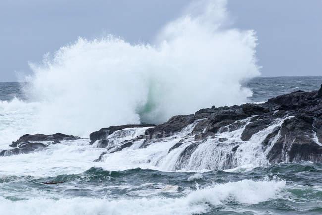 Хвиль, викликаних на скелях, Ucluelet, Британська Колумбія, Канада — стокове фото