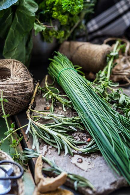 Hierbas frescas sobre la mesa con cuerdas y tijeras - foto de stock