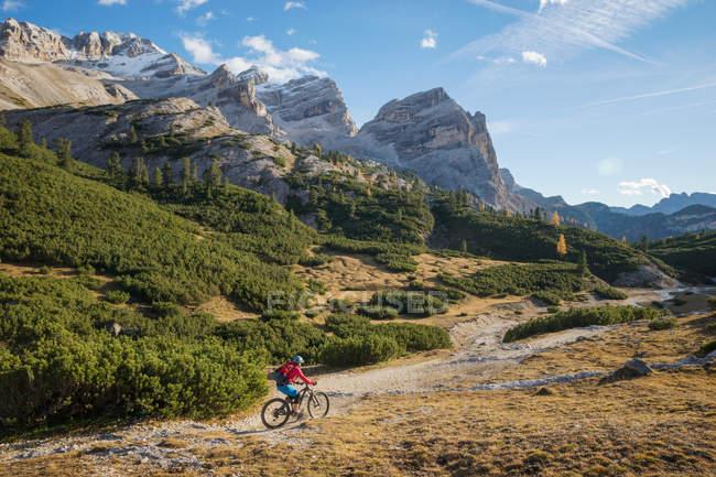 Rückansicht der Frau Mountainbike, Dolomiten, Südtirol, Italien — Stockfoto