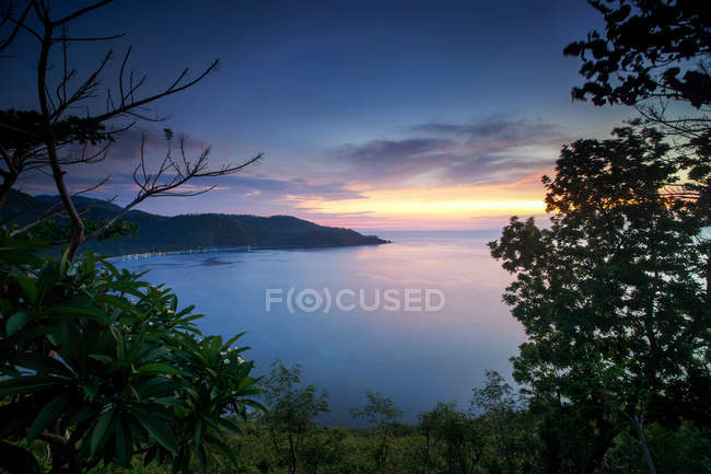 Scenic view of Rural landscape sunset, Lombok — Stock Photo