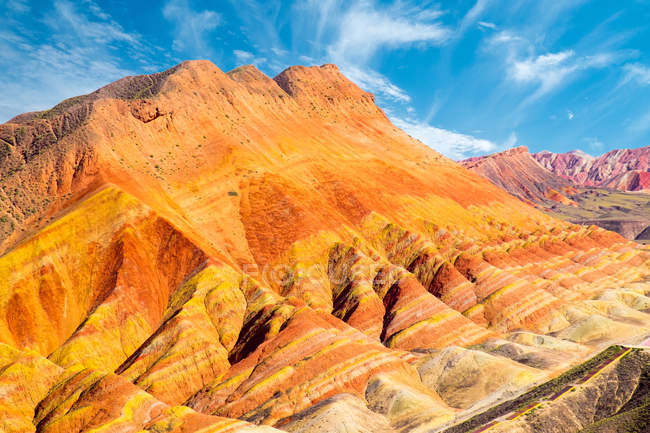 Scenic view of Colorful rock formation, Zhangye, Gansu, China — Stock Photo