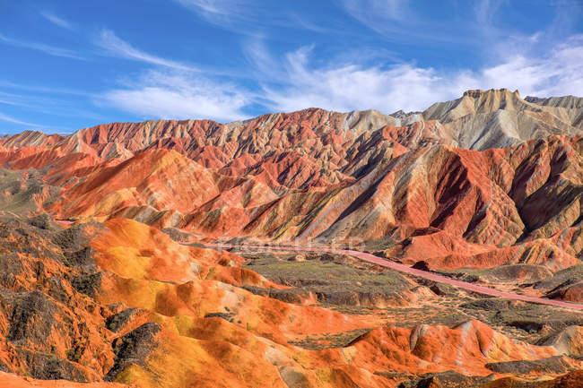 Vue panoramique de Zhangye Sheng nationale de Géoparc, Gansu, Chine — Photo de stock