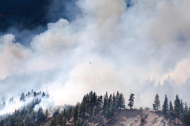 Vue panoramique de l'hélicoptère volant au-dessus de Forest Fire à Lytton, Colombie-Britannique, Canada — Photo de stock