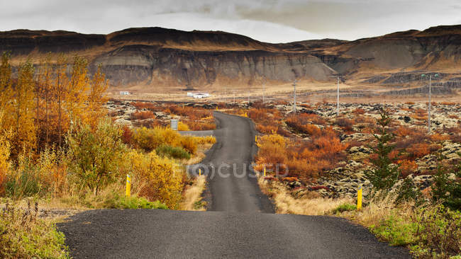 Scenic view of Road through rural landscape, Iceland — Stock Photo