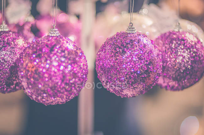 Close-up view of pink Christmas bauble decorations — Stock Photo