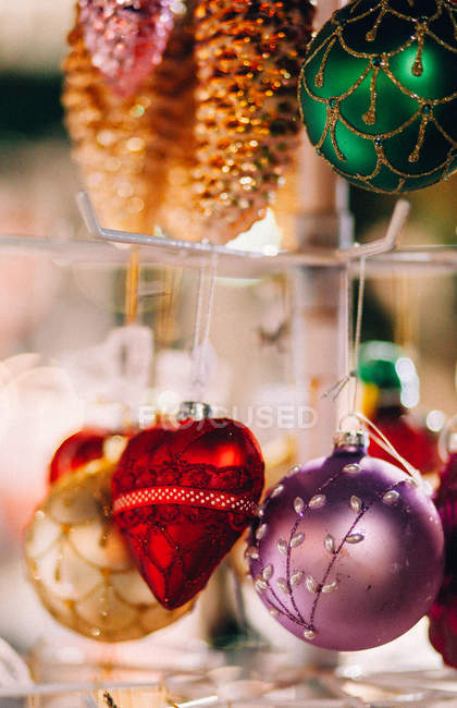 Close-up view of Christmas bauble decorations — Stock Photo