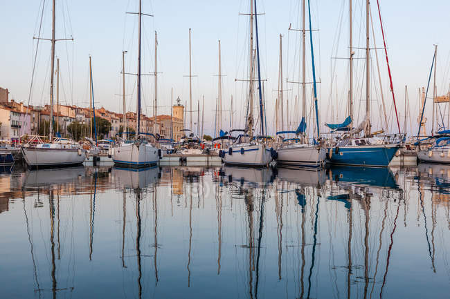 Vista panorámica de barcos amarrados en el puerto deportivo, La ciotat, Costa Azul, Francia - foto de stock