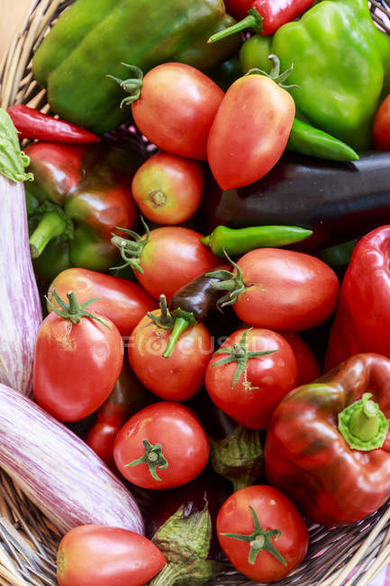 Cestino con pomodori freschi, peperoni, melanzane e peperoncini rossi — Foto stock