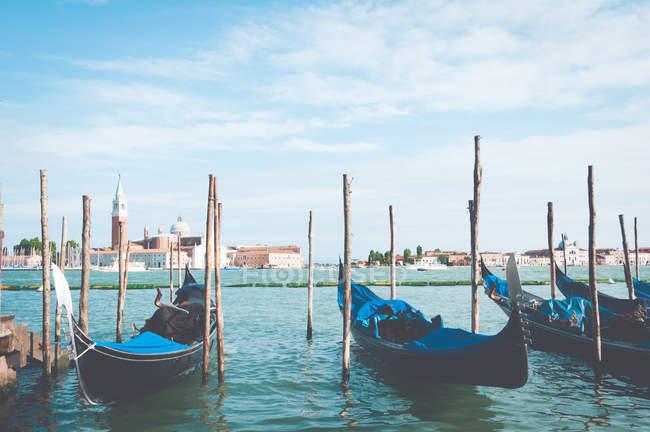 Fila di gondole ormeggiate all'alba, sentieri veneziani 120, Venezia, Veneto, Italia — Foto stock